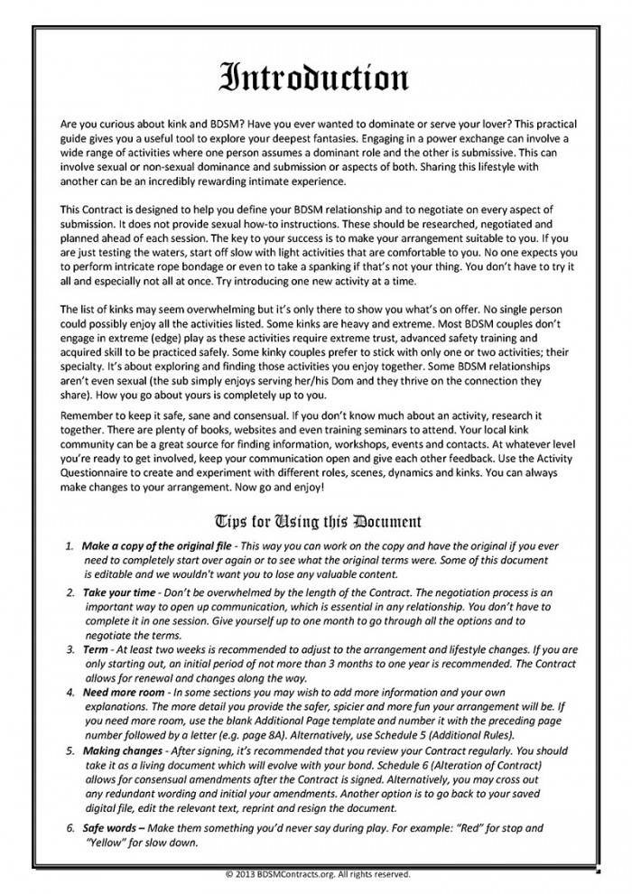 BDSM Contract Introduction