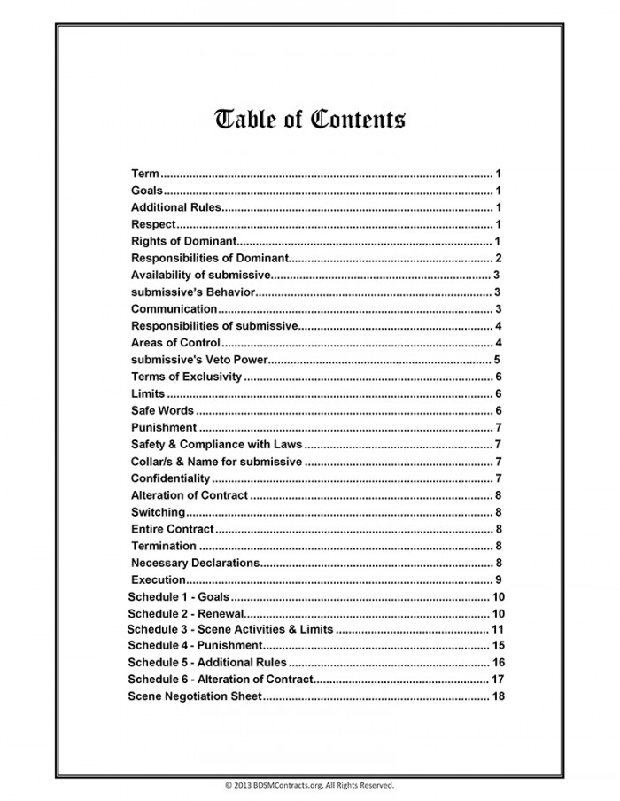 BDSM Contract Table of Contents