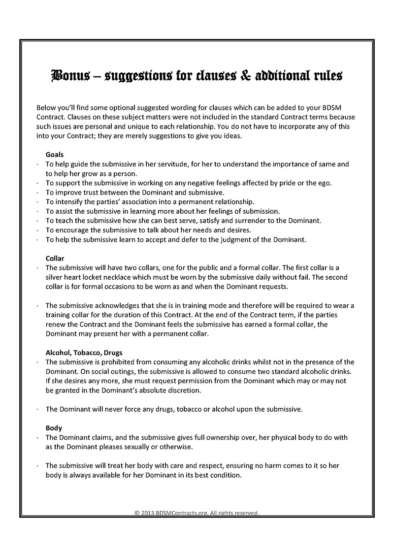 Bdsm contract digital for B b contract