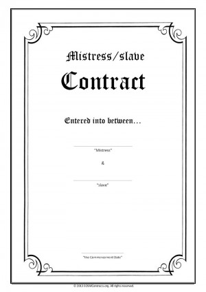 Mistress slave Contract