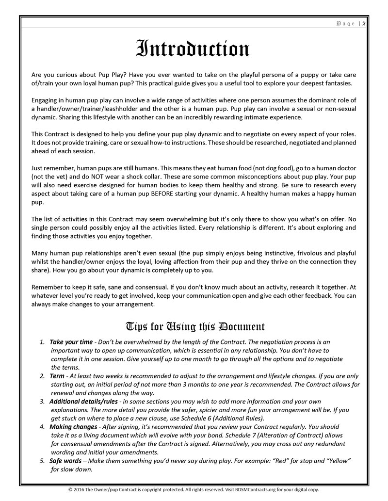 BDSM Pup Play Contract Introduction