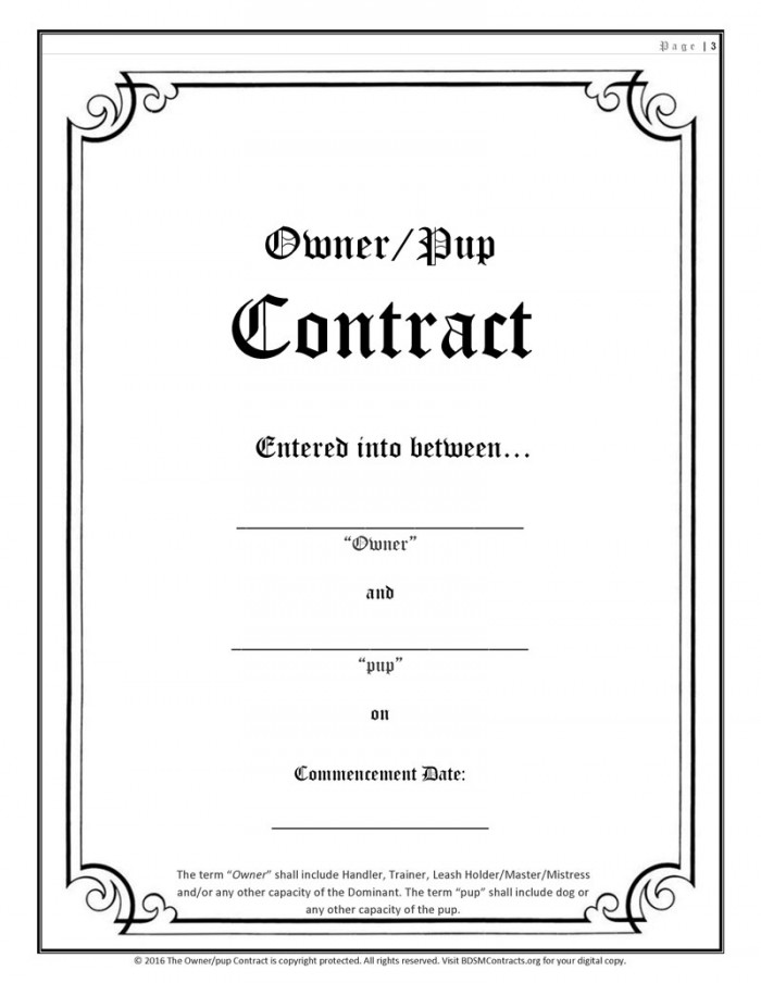 BDSM Pup Play Contract