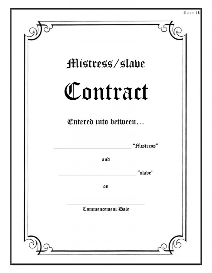 Mistress/slave Contract