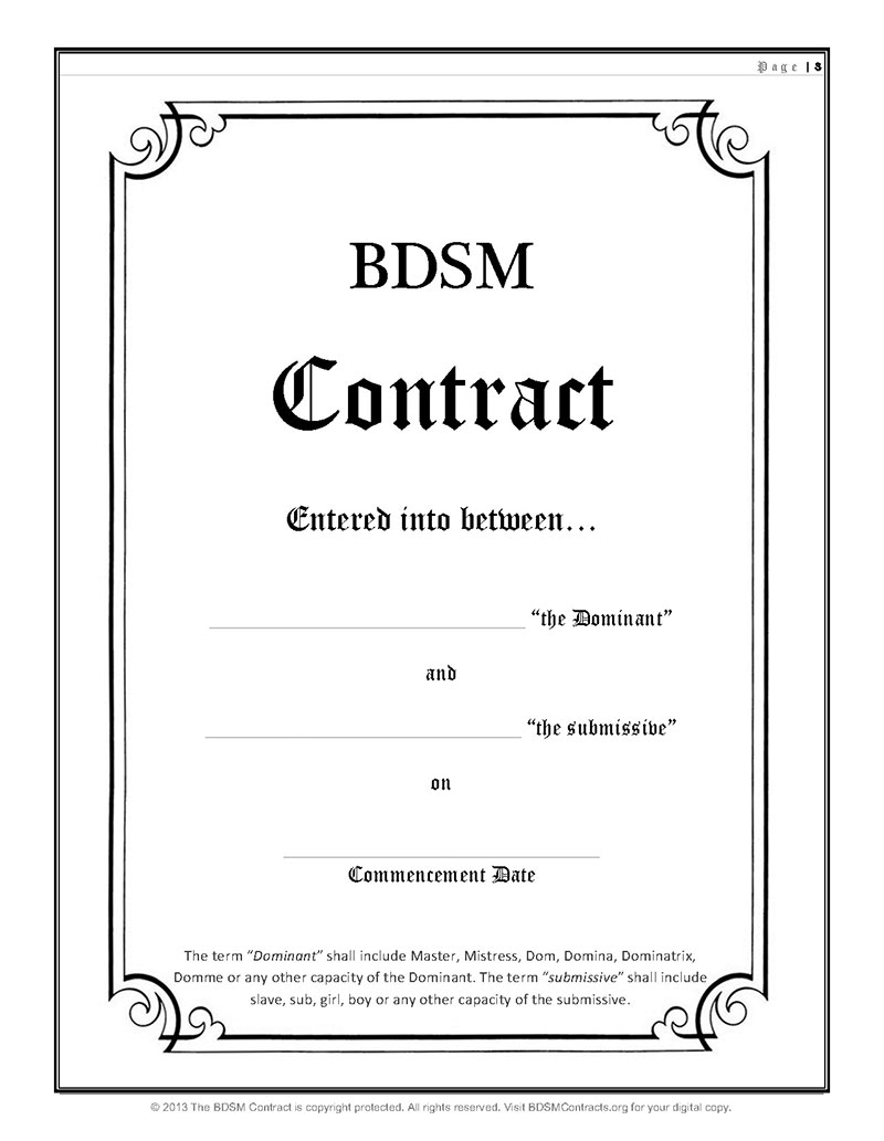 BDSM Contract Template Download