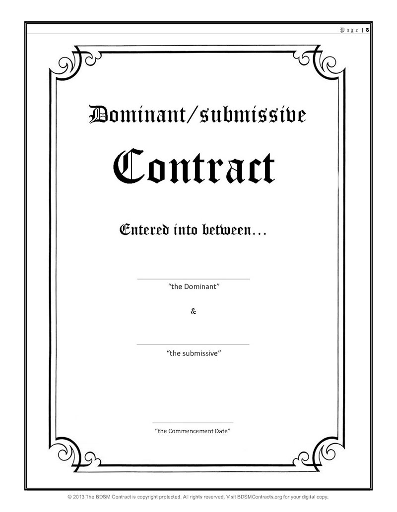Dominant Submissive Contract Title Page