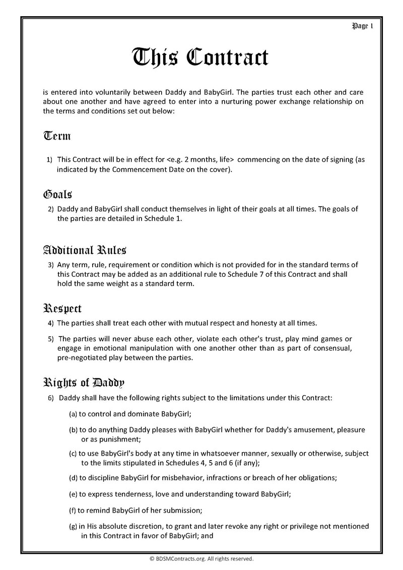 Daddy Dom Babygirl Contract Page 1